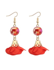 Fashion Red Flower&beads Decorated Pure Color Simple Earrings