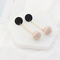 Elegant Pink Round Shape Pendant Decorated Simple Long Earrings