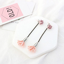 Elegant Pink Flower Shape Pendant Decorated Simple Long Chain Earrings