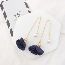 Elegant Navy Flower Shape Decorated Simple Long Chain Earrings