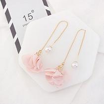 Elegant Pink Flower Shape Decorated Simple Long Chain Earrings