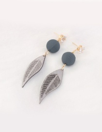 Trendy Gray Leaf Pendant Decorated Color Matching Earrings