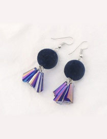 Trendy Blue Fuzzy Ball Decorated Color Matching Earrings