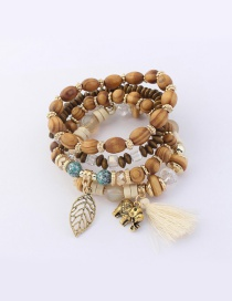Vintage Milk White Tassel&leaf Decorated Multi-layer Bracelet