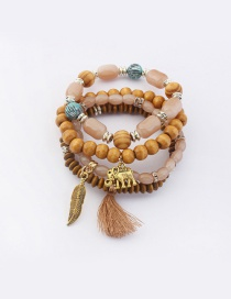 Vintage Coffee Tassel&leaf Decorated Multi-layer Bracelet