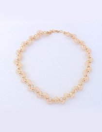 Fashion Champagne Diamond Decorated S Shape Pure Color Necklace