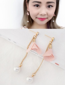 Fashion Light Pink Flower&pearls Decorated Long Earrings