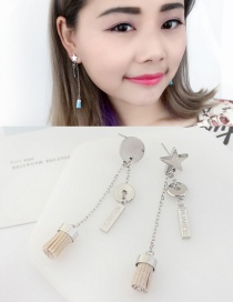 Fashion Apricot Tassel&star Decorated Long Earrings