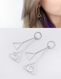 Elegant White Triangle Shape Decorated Pure Color Earrings