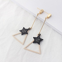 Fashion Apricot Stars&triangle Shape Decorated Simple Earrings