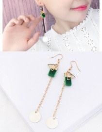 Personalized Gold Color Round Shape Decorated Long Earrings