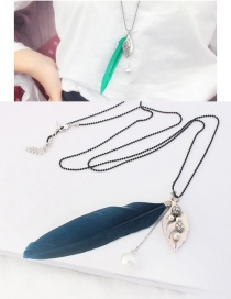 Vintage Navy Leaf&feather Pendant Decorated Long Necklace