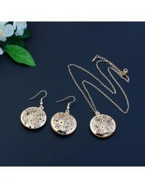 Elegant Gold Color Flower Decorated Hollow Out Design Jewelry Sets