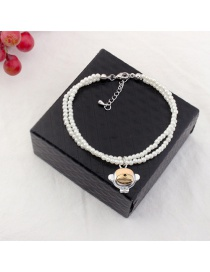 Elegant White Monkey Pendant Decorated Simple Bracelet