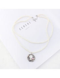 Elegant White Flower&diamond Decorated Double Layer Necklace