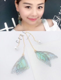 Elegant Light Purple+light Blue Tassel&butterfly Decorated Long Earrings