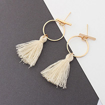 Elegant Beige Tassel Decorated Circular Ring Shape Earrings