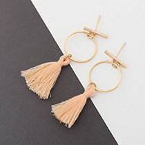 Elegant Orange Tassel Decorated Circular Ring Shape Earrings