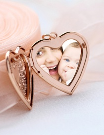 Fashion Rose Gold Printed Love Photo Box Pendant Necklace